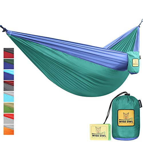 Hammock for Camping Single & Double Hammocks - Top Rated Best Quality Gear For The Outdoors Backpacking Survival or Travel - Portable Lightweight Parachute Nylon DO Green & Blue (Emu Outdoor Furniture Sale)