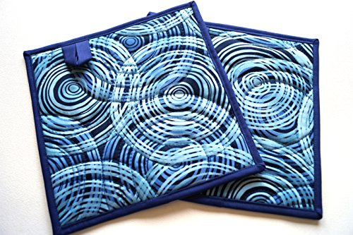Indigo Blue Swirls Quilted Patchwork Pot Holders