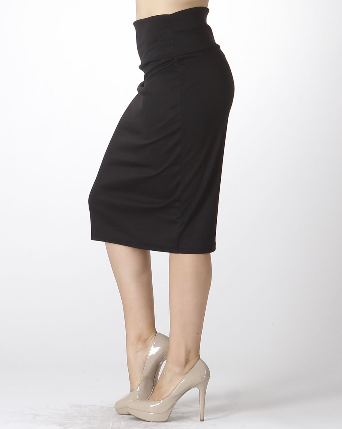Bold And Beautiful Women's Knee Length Pencil Skirt – High Waisted – Fold Over – Stretchy – Plus Size – Made in USA (3X, Black)