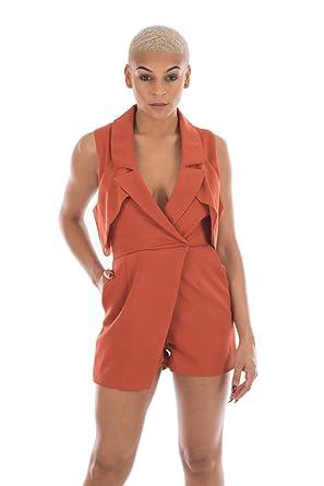 90d40ddb748 Lavish Alice Women s Open Sleeve Deep Plunge Tailored Playsuit ...