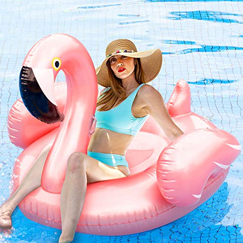 ComTec Flamingo Pool Float - Large Inflatable Pool Float Lounge raft for Summer Pool Party, Beach Toys, Swimming Pool, Ideal for Adults, Kids, Hostess Gift, Pink with Rose Gold Under Sunshine ()
