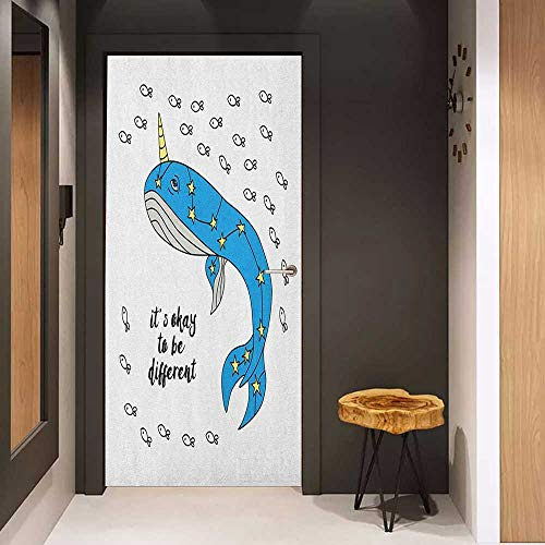 Onefzc Photo Wall Decal Narwhal Hand Drawn Whale Sketch with Horn and Star Pattern Swimming with Fishes for Home Decor W36 x H79 Azure Blue Grey Yellow