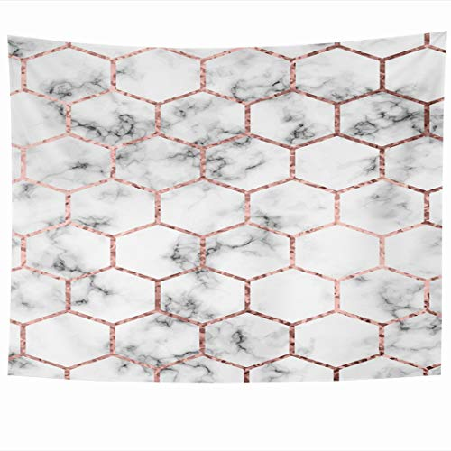 Ahawoso Tapestry 60x50 Inch Anniversary Geometric Marble Rose Gold Label Hexagons Border Simple Bridal Modern Party Tapestries Wall Hanging Home Decor for Living Room Bedroom Dorm
