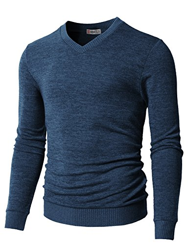 - H2H Mens Slim Fit Light Weight V-Neck Pullover Sweater Blue US L/Asia XL (CMOSWL018)