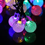Amaz-Play Outdoor Solar String Lights - Decorative Globe Led Lighting for Christmas Tree, Party, Patio, Garden, Home - 20ft 30 LED Color Colored