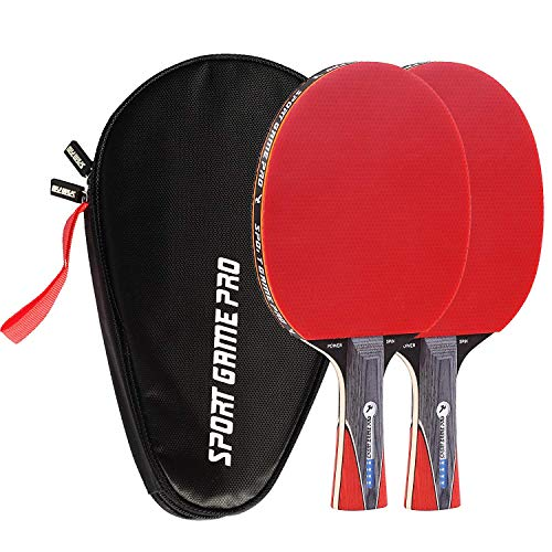 Ping Pong Paddle with Killer Spin + Case for Free - Professional Table Tennis Racket for Beginner and Advanced Players - Improve Your Ping Pong Skills with JT Ping Pong Paddle Set (Light Yellow)