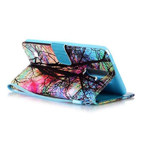 LG LS775 Funda LG LS775 Cáscara, Alfort Cáscara Protector PU + TPU Sintético Con Diamantes de Imitación Cierre Magnético Carcasa LG LS775 Cover La tapa de la Cubierta móvil también puede instalar las  Árbol de Color