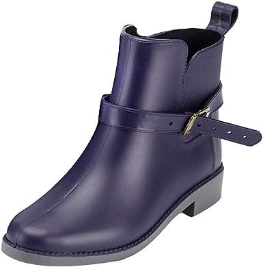 Mujeres Boots Negro Azul Plano Botines jardín Trabajos Botas Cortas ZARLLE Zapatos Casuales Impermeable Antideslizante Lluvia Botas: Amazon.es: Ropa y accesorios