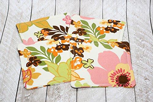 Tropical Floral Print Fabric Coaster Set (Durable Tropical Rug)