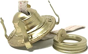 Light Of Mine Oil Lamp Replacement Burner | #2 Brass Plated Burner | Oil Lamp Replacement Parts | Burner | Reduction Ring & Replacement Wick for Antique Hurricane Lamps (5)