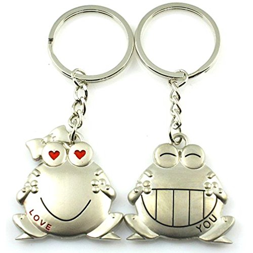 DreamsEden Stainless Alloy Metal Smiling Animal Frog Couple Keychains(with Gift Box and Greeting Card) Sweetheart Pendant Key Rings Chains Best for Valentine's Day Wedding Anniversary, Silver (A Pair) Anniversary Frog