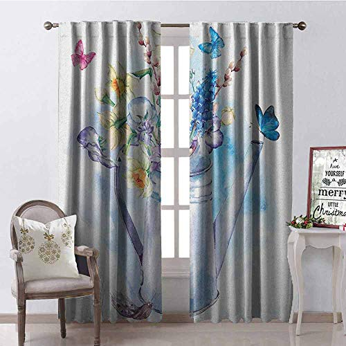 Gloria Johnson Daffodil Shading Insulated Curtain Summer Bouquet with Violets Puss-Willows and Butterflies in Old Fashion Watering Can Soundproof Shade W52 x L63 Inch Multi