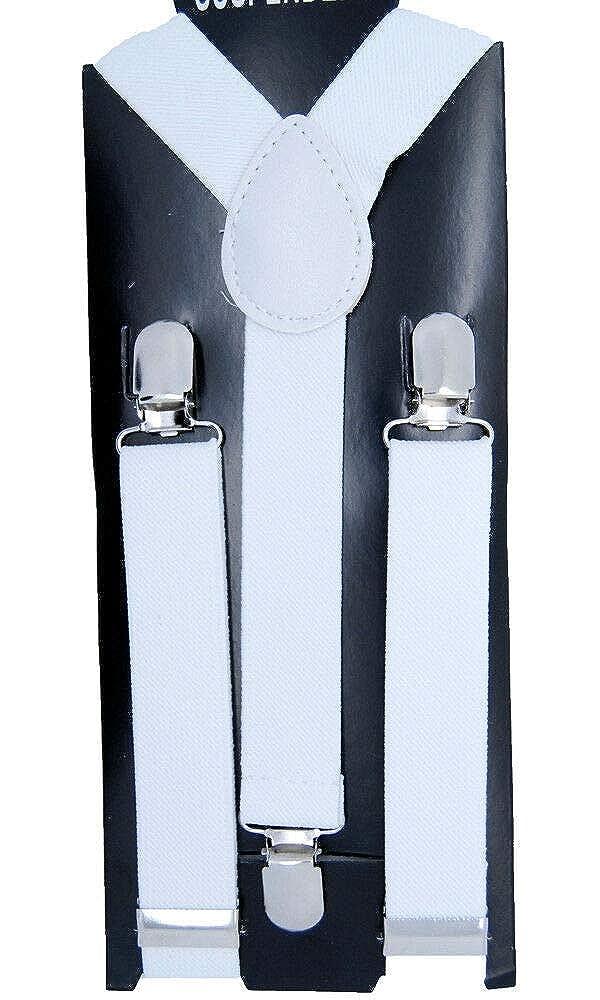 WHITE #AAAS Cool Kids Suspender Clip-on Y-Back Boys /& Girls Elastic Suspender