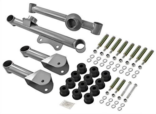 1979-2004 Mustang Silver Upper + Lower Rear Tubular Steel Control Arms & Hardware (Tubular Arms)