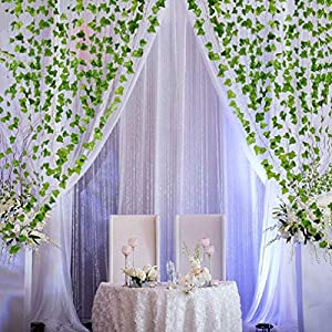 HOOPE 12 Pack Ivy Artificial Plant Hanging Vine Leaves Wall Decor for Wedding Patio Yard Garland Home Greenery Decoration, 84 Ft Outside and Inside Backdrop Decor 5