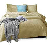 KASENTEX Coverlet Quilt Set-Pre Washed-Luxury Microfiber Soft Warm Bedding-Solid Colors Bedspread-Contemporary Design (Sunshine Yellow, Twin + 1 Sham)