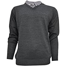 Pierre Cardin Mens New Season V-Neck Knitted Jumper With Mock Shirt Collar Insert