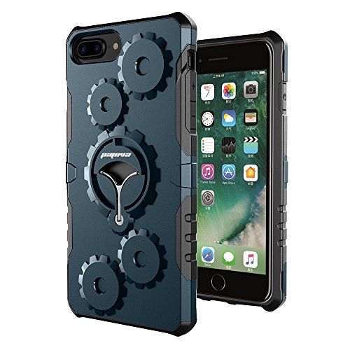 iPhone 7 Plus Case, iPhone 8 Plus Case, Pajuva Armor Case with Kickstand & Separable Adjustable Sport Running Armband with Key Holder Strap or Tie Headset Earphone Line for iPhone 7/8 Plus (Navy Blue)