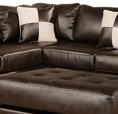 Bobkona Soft-Touch Reversible Bonded Leather Match 3-Piece Sectional Sofa Set, Espresso