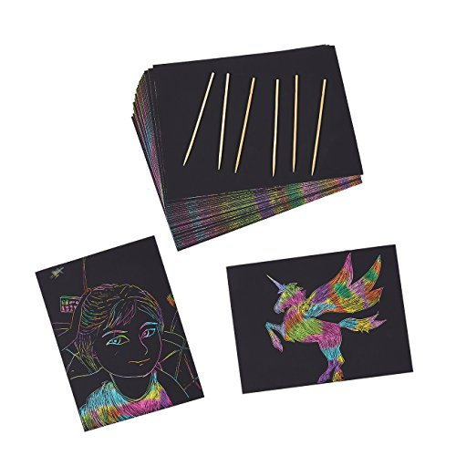 Rainbow Scratch Paper with 5 Wooden Stylus Pens - 50-Pack Rainbow Scratch-Off Art Paper, Black Doodle Pad with Rainbow Background, Art Supplies for Kids, 8.25 x 11 inches by Juvale