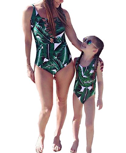 Mommy and Me Swimsuit Family Matching Mother Daughter Leaves Print Swimwear Bathing Suit (L(100), Girls)