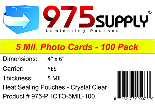 - 975 Supply 5 Mil Photo Laminating Pouches, 4 x 6 inches, 100 Pouches