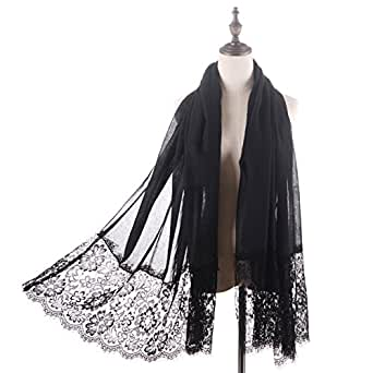 RiscaWin Lady New Fashion Contracted Style Both Ends Floral Lace Soft Scarf Spring Shawl Black