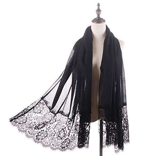 RiscaWin Lady New Fashion Contracted Style Both Ends Floral Lace Soft Scarf Spring Shawl Black (Gypsy Head Scarf)