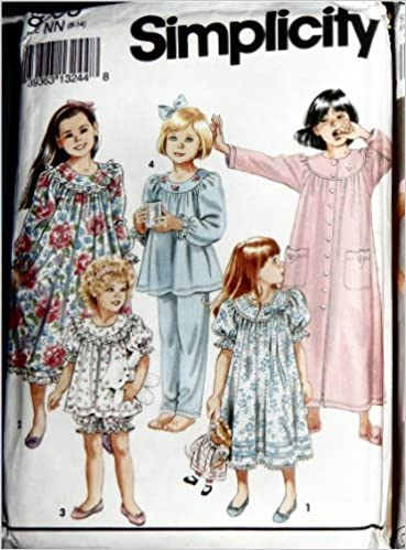 cddb282df802 Simplicity 8093 Paper Sewing Pattern for Curved Gathered Yoked Nightgowns  Robe Long and Shorty Pajamas for Girls 8-14  SIMPLICITY PATTERNS   Amazon.com  ...