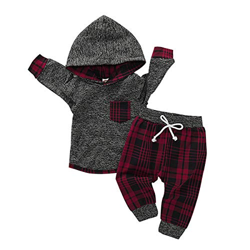 Infant Boy Clothes First Christmas Outfit Long Sleeves Pants Set Baby Boys Clothes 6-12 Months Dark Red (Ideas Outfit Vacation Christmas)