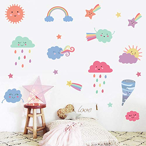 Colorful Clouds Wall Decal, Cute Clouds with Tornado, Sun, Stars, Rainbow Wall Sticker, Multicolor Deal for Kids Room Decoration