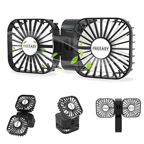 Portable Mini USB Fan, 3 Speeds Small Personal Desk Fans with Creative Adjustable Dual Fan Design, Rechargeable Handheld Fan for Indoor Outdoor - Black ()