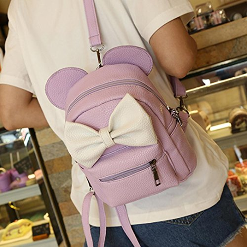 Backpack Witspace Mickey Mini Female Purple Women's Light Backpack Leather Bowtie Purse Ear 7Uw6qdd5