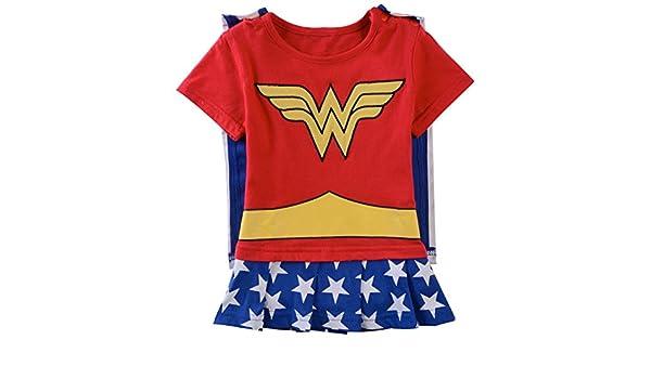 A & J diseño bebé niñas Wonder Woman Pelele de Manga Corta - Multi -: Amazon.es: Ropa y accesorios