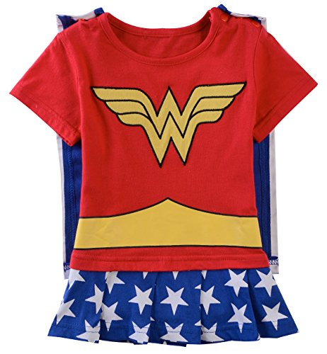A&J Design Baby Girls' Wonder Woman Short Sleeve Romper 18-24 Months (Superheroes Outfit)