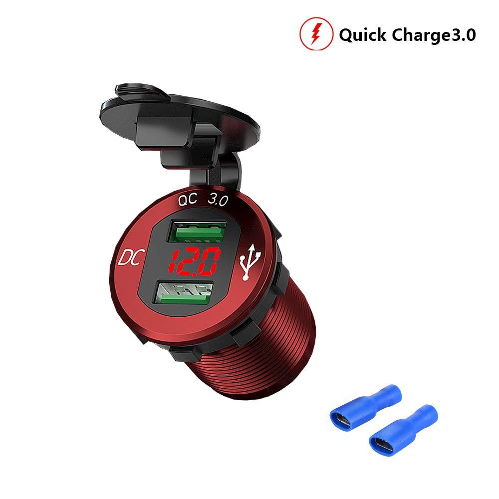 Schwarz 12V//24V Auto Ladeger/ät,Dual USB Quick Charge 3.0 Ladeger/ät,USB Auto Steckdose f/ür 12-V-Auto-Wohnmobil-Boot-Wohnmobil-Motorrad-Mobil