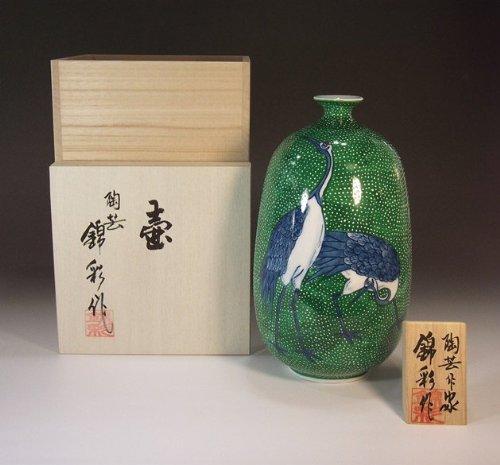 有田焼伊万里焼の陶器花瓶|高級贈答品|ギフト|記念品|贈り物|夫婦鶴陶芸家 藤井錦彩 B00INM06AQ
