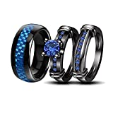 LOVERSRING Couple Rings Black Men?¡¥s Stainless Steel Matching Band Women Black Gold Filled Blue CZ Engagement Wedding Sets