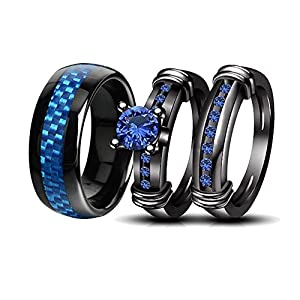 loversring Couple Rings Black Men Stainless Steel Matching Band Women Black Gold Filled Blue CZ Engagement Wedding Sets