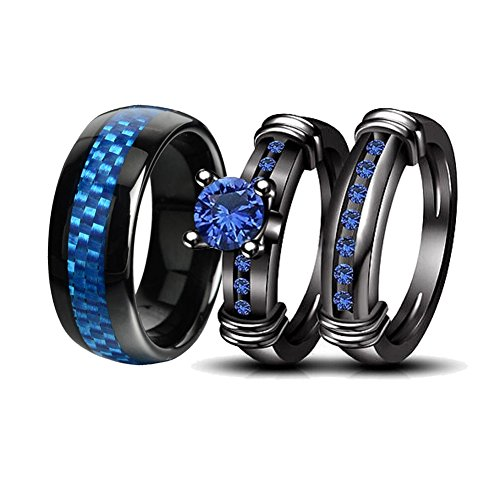 LOVERSRING Couple Rings Black Men?¡¥s Stainless Steel Matching Band Women Black Gold Filled Blue CZ Engagement Wedding Sets by LOVERSRING