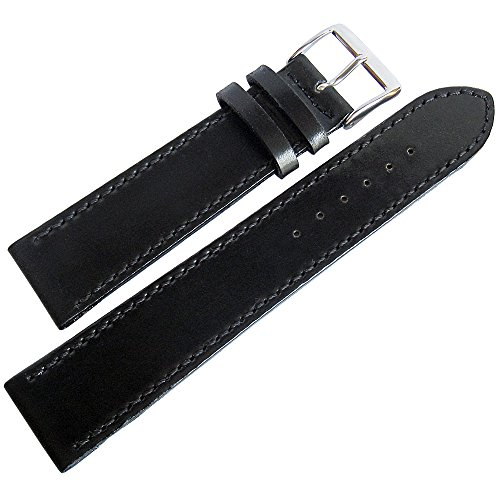 - Fluco Shell Cordovan 18mm Black Leather Watch Strap