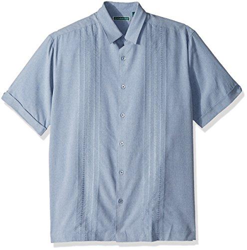(Cubavera Men's Short Sleeve Shirt with Tuck and Embroidered Panels, Coronet Blue Medium)