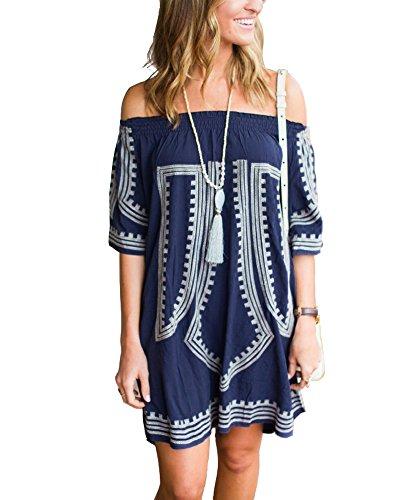 Dxnona beach Swimwear Cover up Dress (blue) (Blue Dress Ups)