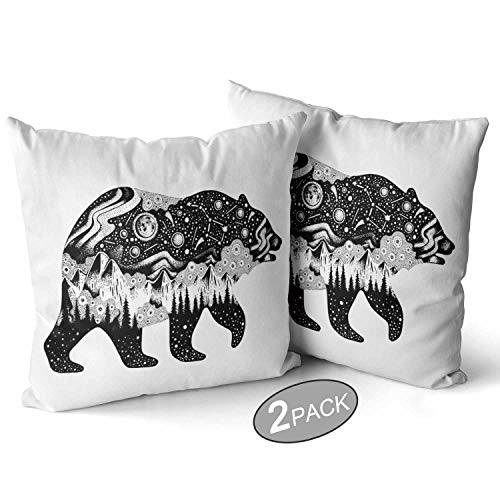 Bear Silhouette for t Shirt Print or Temporary Tattoo Throw Pillow Cushion Cover,Hand Drawn Surreal Design for Apparel Decorative Square Accent Pillow Case,22″ X 22″,2Pcs