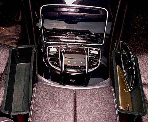 2PC Car Seat Catcher,Console Side Pocket,Caddy Catcher,Gap Filler,Black