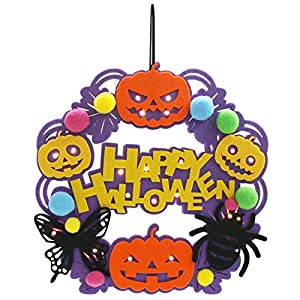 Athoinsu Happy Halloween Jack-O-Lantern Wreath Non-Woven Hanging Sign Safe Felt Door/Wall Pumpkin Decoration with String Lights to Celebrate Halloween and Fall Harvest 53