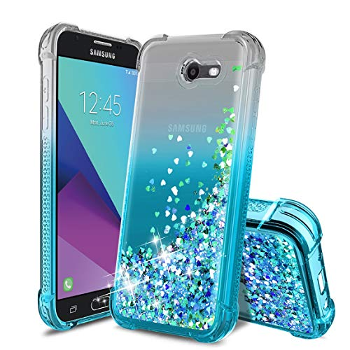(Samsung Galaxy J3 2017 Case,Galaxy J3 Emerge/J3 Prime/J3 Eclipse/J3 Mission/Express Prime 2/J3 Luna Pro/Amp Prime 2/Sol 2 Phone Case,TPU Glitter Liquid Quicksand Protective for Girls Women-Teal)