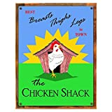 Cheap Wood-Framed Chicken Shack Metal Sign: Country Home Decor Wall Accent for kitchen on reclaimed, rustic wood