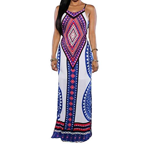 Women's Sexy Aztec Print Spaghetti Strap Backless Long Maxi Dress White S by blingdeals