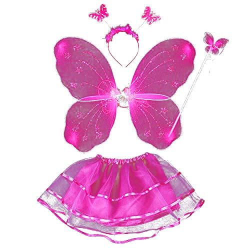 BOBORA Fairy Girl Butterfly Wing Wand Headband Tutu Skirt Halloween Costume Set (Rose -